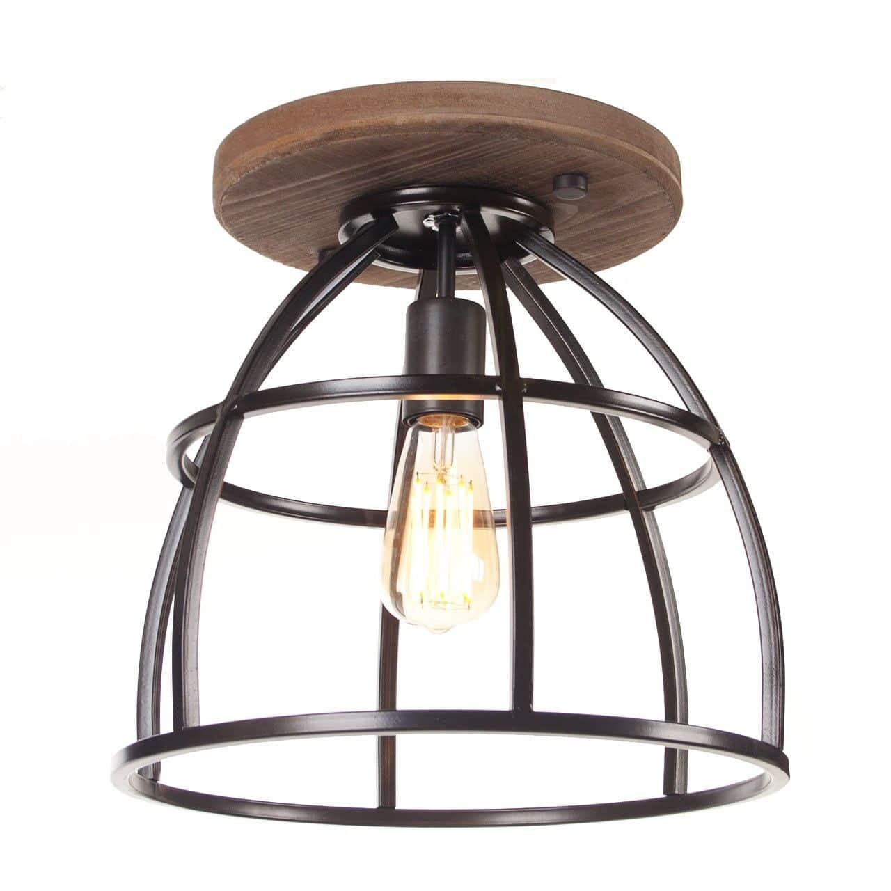 Industrieel Landelijke Plafondlamp Birdie Met Hout Lampenconcurrent Nl