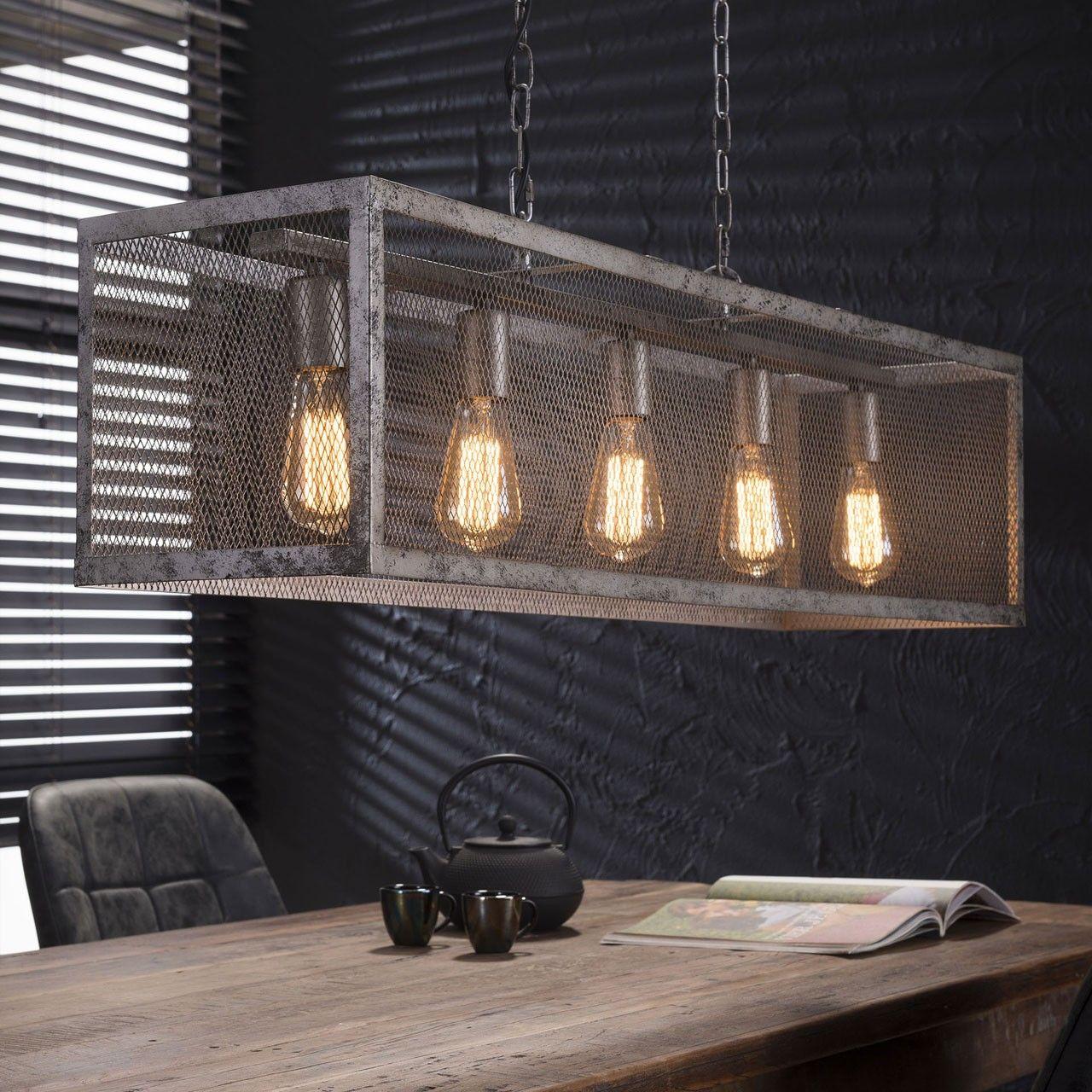 Landelijke Hanglamp Oud Zilver Rechthoek Raster 7399 29 Lampenconcurrent Nl