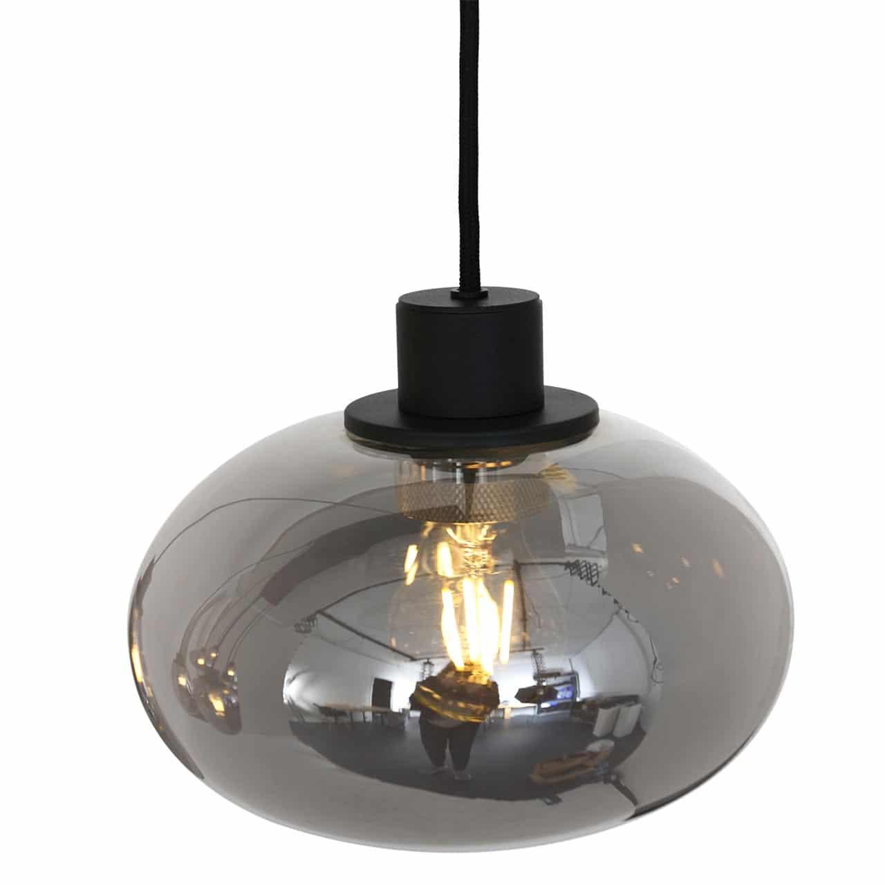 Moderne 8 Lichts Hanglamp Zwart Met Smoke Glas Lampenconcurrent Nl